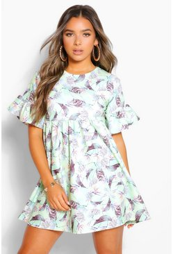 Green Petite Floral Frill Hem Smock Dress