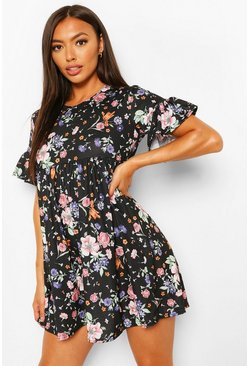 Black Petite Floral Frill Hem Smock Dress