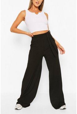 Stone Petite Rib Belted Wide Leg Trouser