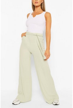 Sage green Petite Rib Belted Wide Leg Trouser