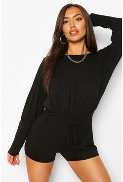 Black Petite Volume Sleeve Rib Casual Playsuit