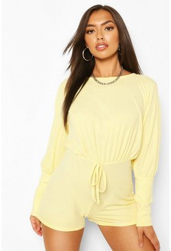Lemon yellow Petite Volume Sleeve Rib Casual Playsuit
