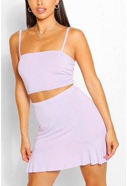 Lilac purple Petite Square Neck Top And Frill Hem Skirt Two-Piece