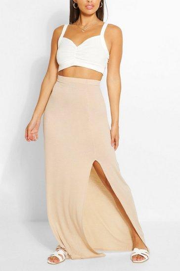 Stone beige Petite Split Detail Maxi Skirt
