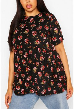 Black Plus Ditsy Floral Smock Top