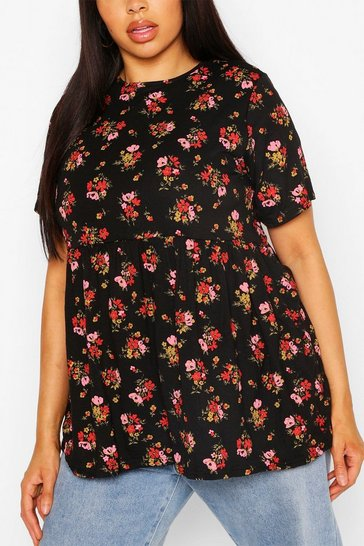 Black Plus Ditsy Floral Smock Top
