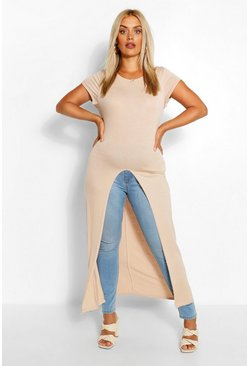 Stone beige Plus Cap Sleeve Maxi Split Front Top