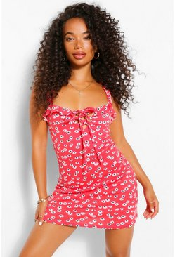 Red Petite Ditsy Floral Sun Dress