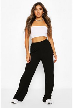 Black Petite Extreme Wide Leg High Waisted Trousers