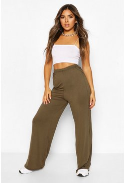 Khaki Petite Extreme Wide Leg High Waisted Trousers