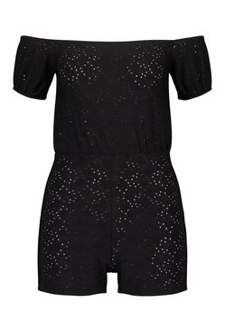 Black Petite Off The Shoulder Broderie Anglaise Playsuit