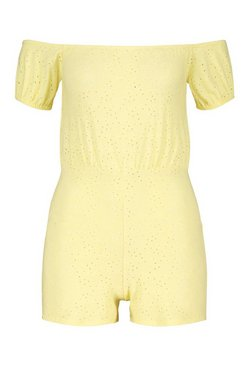 Lemon Petite Off The Shoulder Broderie Anglaise Playsuit