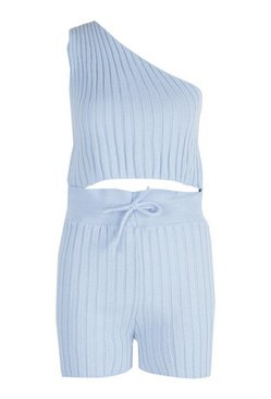 Blue Petite Knitted Short Co-Ord