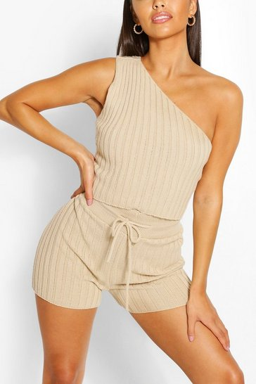 Stone beige Petite Knitted Short Co-Ord