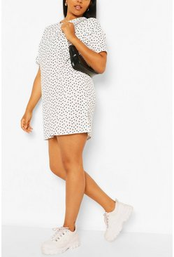 Ivory Plus Polka Dot TShirt Dress
