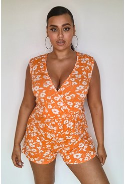 Plus Jersey-Playsuit im Wickeldesign mit Blumenmuster, Orange