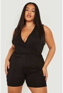 Black Plus Basic Wrap Over Jersey Playsuit