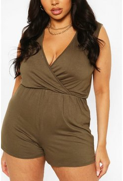 Khaki Plus Basic Wrap Over Jersey Romper