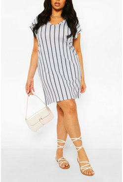 Blue Plus Stripe V-Neck Key Hole Detail T-Shirt Dress