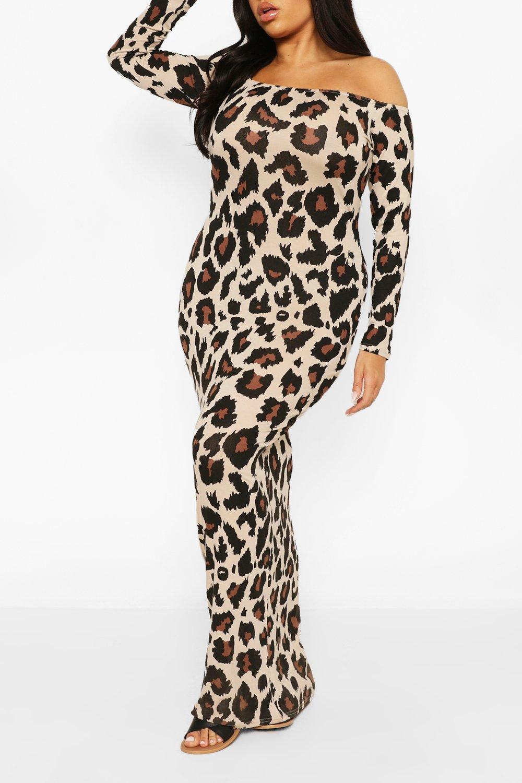 Plus Leopard Off The Shoulder Maxi Dress 4
