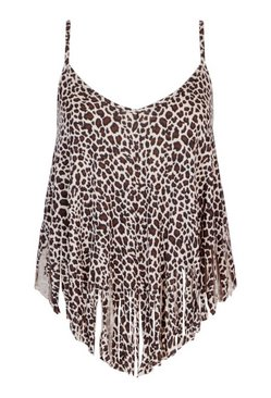 Brown Plus Leopard Tassel Beach Cami