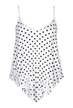 White Plus Polka Dot Tassel Beach Cami