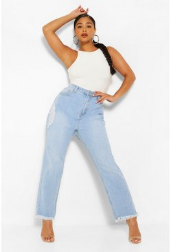 Light blue blue Plus Distressed Fray Hem Straight Leg Jean
