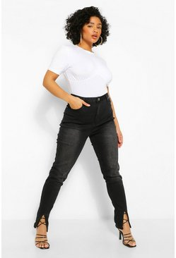 Black Plus Split Front Hem Skinny Jean