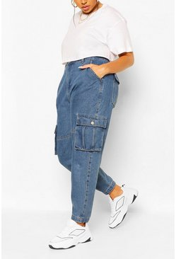 Mid blue Plus Ripped Pocket Denim Cargo Jean