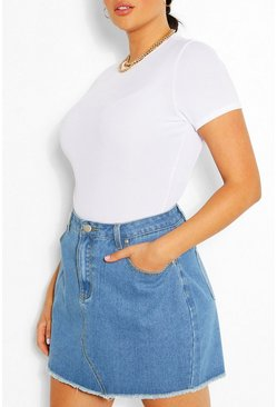 Light blue blue Plus Vintage Distressed Hem Denim Skirt
