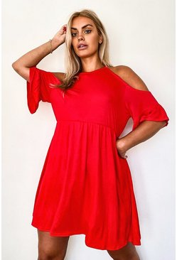 Red Plus Cold Shoulder Ruffle Smock Dress