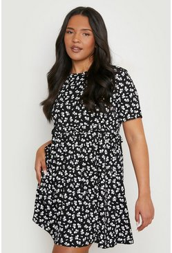 Black Plus Ditsy Floral Smock Dress