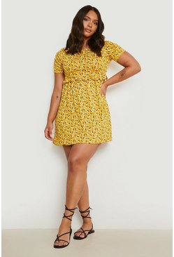 Mustard yellow Plus Ditsy Floral Smock Dress