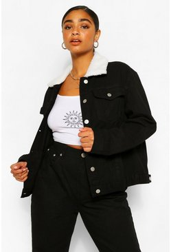 Chaqueta denim con cuello de borreguillo Plus, Negro