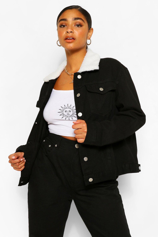 COATS & JACKETS Plus Borg Collar Denim Jacket