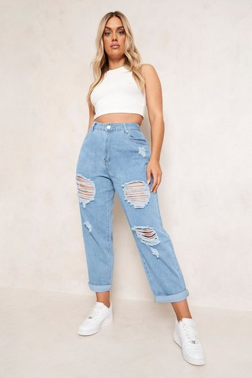 Light wash blue Plus Distressed Ripped Mom Jean