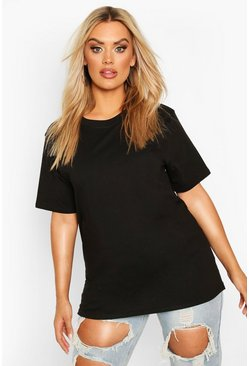 Black Plus Basic Crew Neck T-Shirt