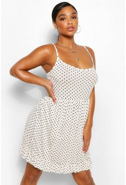Ivory white Plus Polka Dot Strappy Ruffle Sun Dress