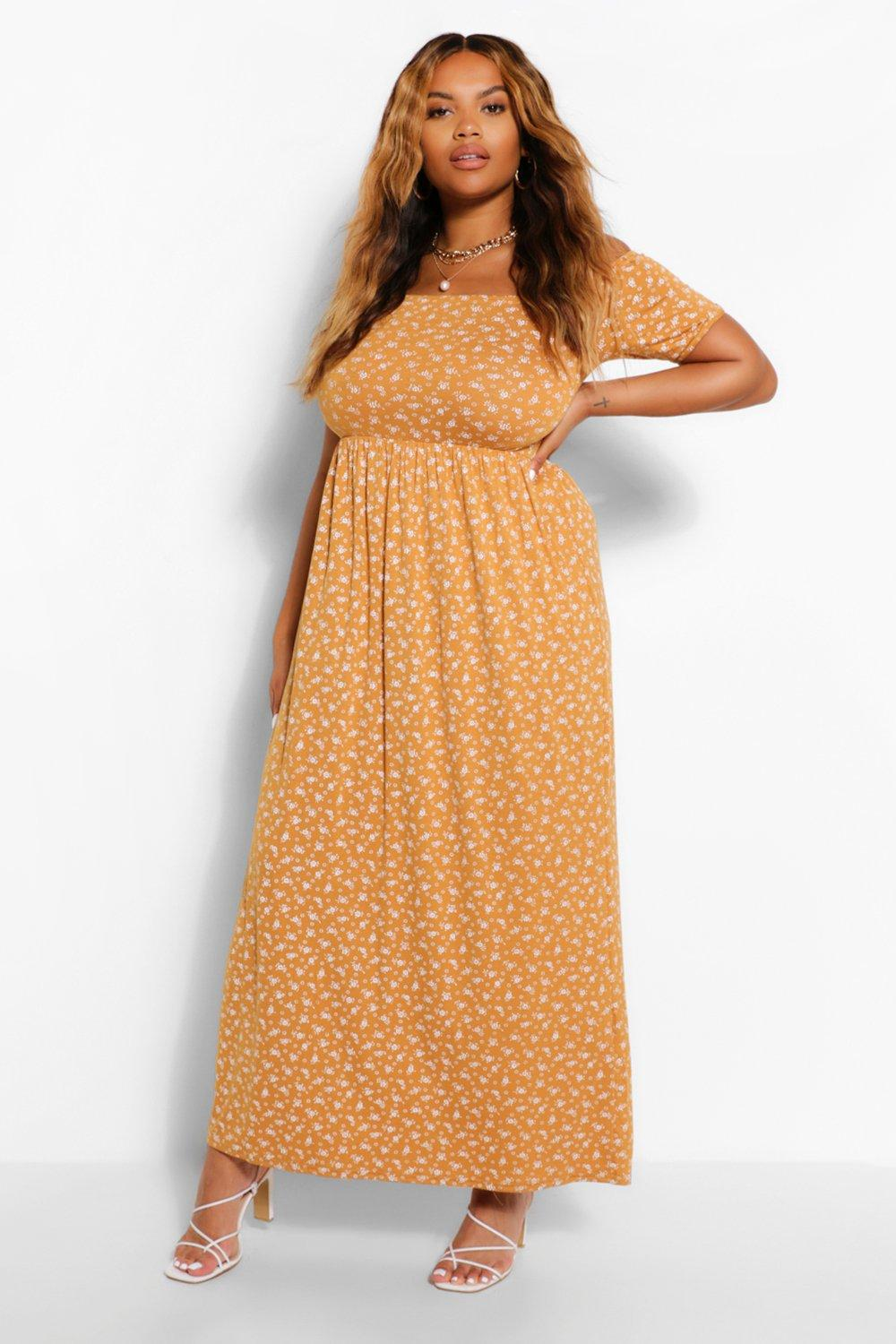 Plus Off The Shoulder Ditsy Floral Maxi Dress 4