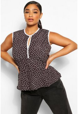 Black Plus Keyhole Polka Dot Sleeveless Peplum Top