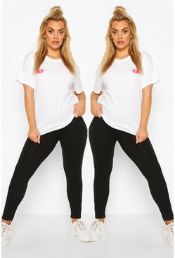 Black Plus 2 Pack Basic Leggings