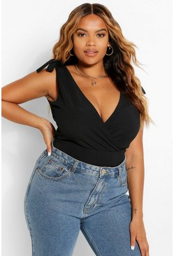 Black Plus Tie Shoulder Rib Bodysuit
