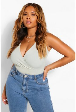 Sage Plus Tie Shoulder Rib Bodysuit