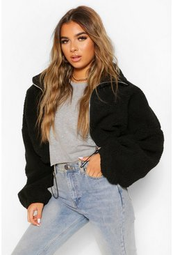 Black Petite Teddy Faux Fur Oversized Bomber Jacket