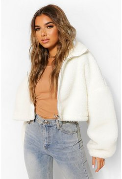 Cream white Petite Teddy Faux Fur Oversized Bomber Jacket