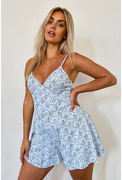 Blue Plus Floral Print Flippy Playsuit