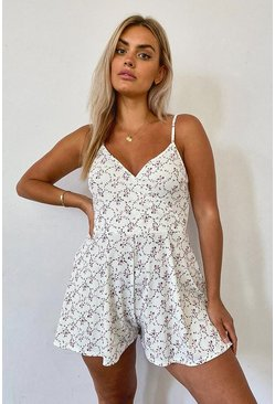 Ivory white Plus Floral Print Flippy Playsuit
