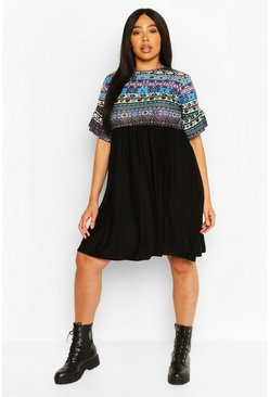 Black Plus Aztec Ruffle Contrast Smock Dress