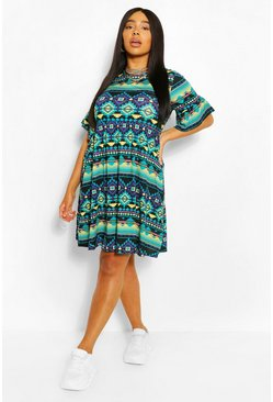 Black Plus Aztec Ruffle Smock Dress