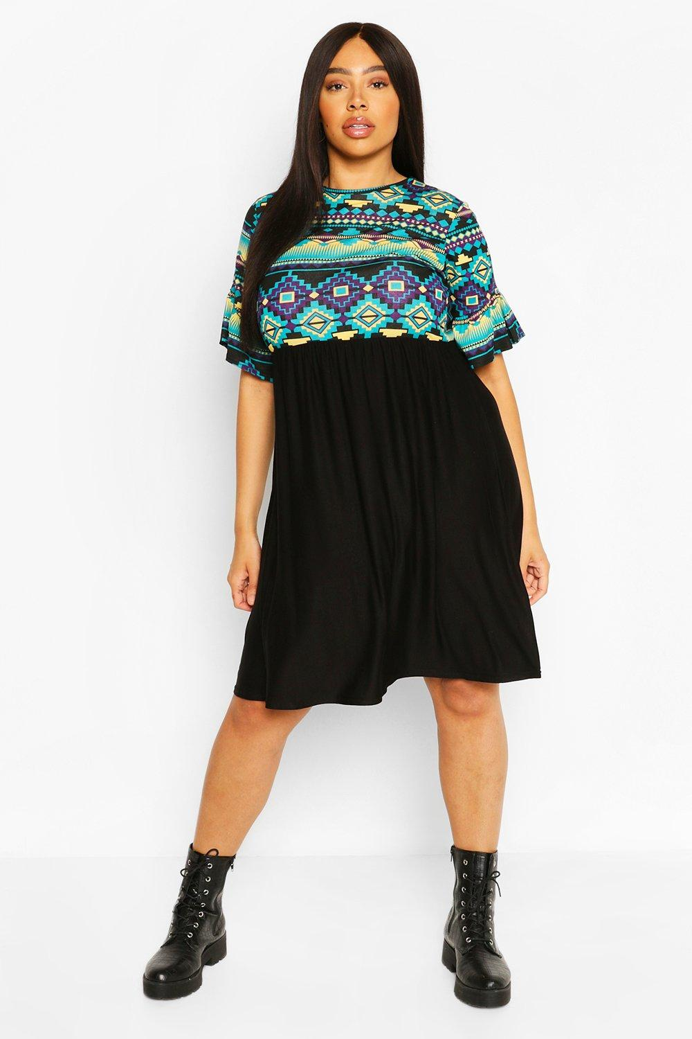 Plus Aztec Ruffle Smock Dress 6